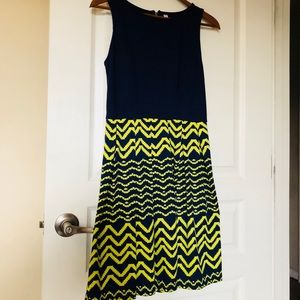 Xhiliration Navy Blue Neon Print Dress